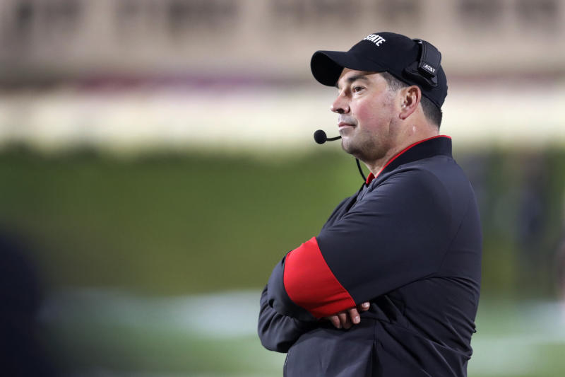 Ohio State head coach Ryan Day looks out over the field during the second half of the team's NCAA college football game against Northwestern Friday, Oct. 18, 2019, in Evanston, Ill. Ohio State won 52-3. (AP Photo/Charles Rex Arbogast)