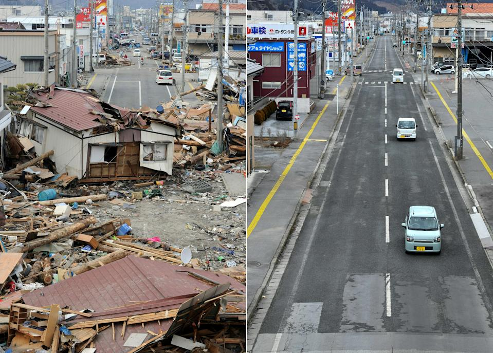 (COMBO) This combination of pictures created on March 4, 2021 shows a house (L) - moved by the tsunami three days previously - blocking a street in the town of Ofunato, Iwate prefecture on March 14, 2011; and the same area (R) nearly 10 years later on January 27, 2021. - Japan this month marks 10 years since the worst natural disaster in the country's living memory -- the massive earthquake, deadly tsunami and nuclear meltdown of March 11, 2011. (Photo by TOSHIFUMI KITAMURA and Kazuhiro NOGI / AFP) (Photo by TOSHIFUMI KITAMURA,KAZUHIRO NOGI/AFP via Getty Images)