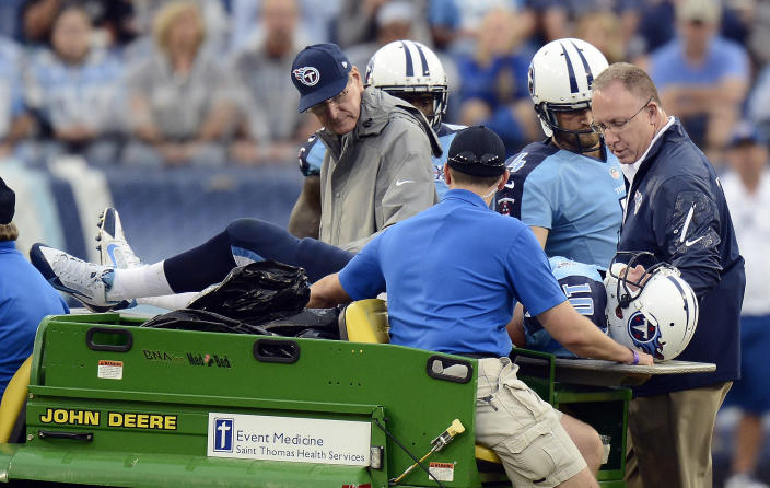 Tennessee Titans quarterback Jake Locker (10) is taken off the field after being injured in the third quarter of an NFL football game against the New York Jets on Sunday, Sept. 29, 2013, in Nashville, Tenn. (AP Photo/Mark Zaleski)