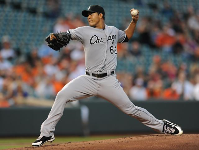 Chicago White Sox pitcher Jose Quintana delivers against the Baltimore Orioles in the first inning of a baseball game, Thursday, Sept. 5, 2013, in Baltimore.(AP Photo/Gail Burton)