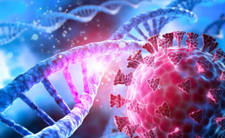 Corona Virus mutation with DNA - covid-19 illustration with dark blue cell background