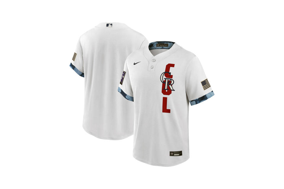 This handout provided by Major League Baseball shows the front and back of the 2021 All-Star jersey unveiled Thursday, June 24, 2021, that will be used for the July 13 game at Denver's Coors Field. The host National League has white jerseys and the American League blue. Major League Baseball is getting rid of club uniforms and caps for the All-Star Game in favor of specially-designed league outfits. (MLB via AP)