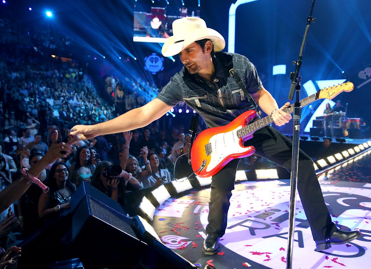 Recording artist Brad Paisley performs onstage during the 2012 iHeartRadio Music Festival at the MGM Grand Garden Arena on September 22, 2012 in Las Vegas, Nevada.  (Photo by Christopher Polk/Getty Images for Clear Channel)