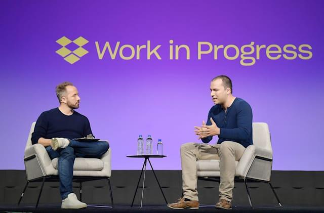 SAN FRANCISCO, CALIFORNIA - SEPTEMBER 25: Drew Houston and Greg Brockman speak onstage during the Dropbox Work In Progress Conference at Pier 48 on September 25, 2019 in San Francisco, California. (Photo by Matt Winkelmeyer/Getty Images for Dropbox)