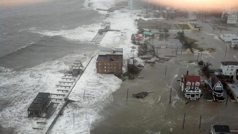 This photo provided by 6abc Action News shows the Inlet section of Atlantic City, N.J., as Hurricane Sandy makes it approach, Monday Oct. 29, 2012. Sandy made landfall at 8 p.m. near Atlantic City, which was already mostly under water and saw a piece of its world-famous Boardwalk washed away earlier in the day. (AP Photo/6abc Action News, Dann Cuellar)
