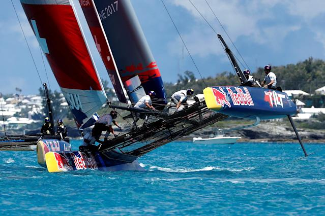 Sailing - Youth America's Cup finals - Hamilton, Bermuda - June 20, 2017 - Sebastien Schneiter steers Team Tilt (Switzerland) as they compete in race three on day one of finals. REUTERS/Mike Segar