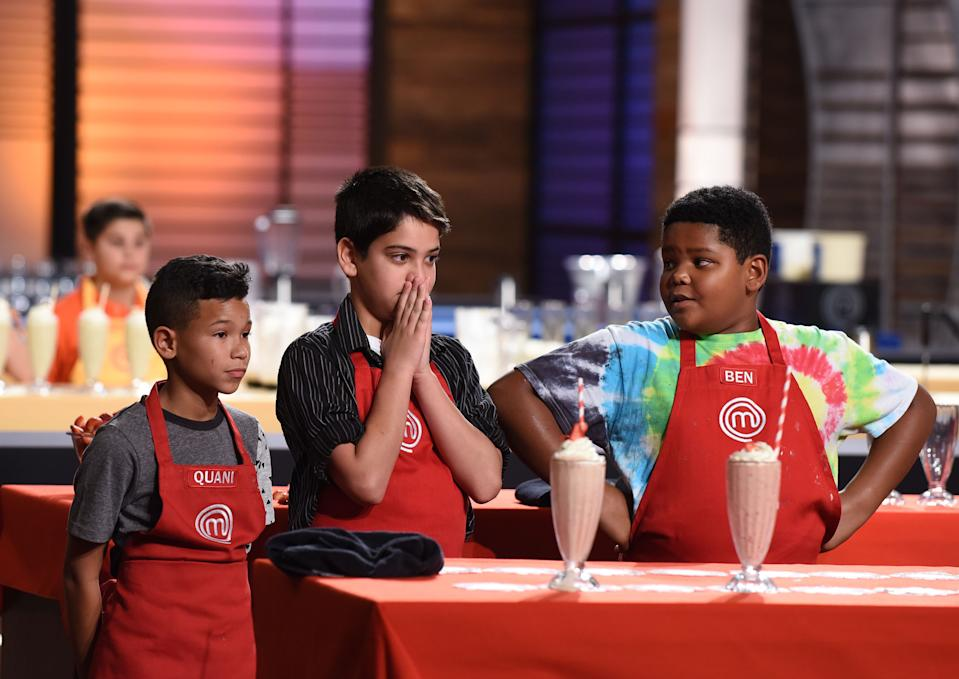 Ben Watkins with a milkshake on MasterChef junior