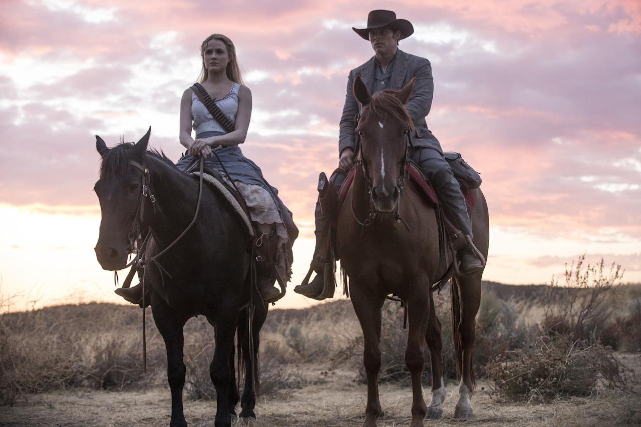 "<p>While a new, emboldened Dolores stands tall in the saddle, her former beau Teddy (James Marsden) looks a little worse for the wear. (Being manually and violently reset by a fellow host will do that to you.) As per this <a rel=""nofollow"" href=""https://www.discoverwestworld.com/images/chat/media/TeddyTablet.jpg"">Delos-released graphic</a>, the previous version of Teddy — Version 3.26, for those keeping score — only had an 18 percent aggression level. If he's spending a lot of time in Dolores's company, that's gonna have to rise by at least 25 percent. (Photo: John P. Johnson/HBO) </p>"