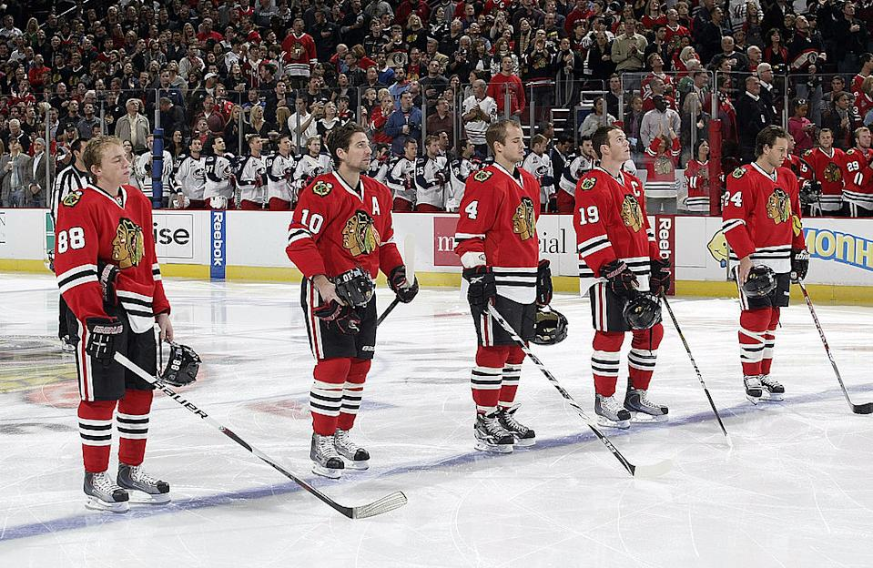 Nick Boynton says star players like Patrick Kane and Patrick Sharp knew about the alleged sexual assaults involving a former player and ex-video coach Brad Aldrich. (Getty)