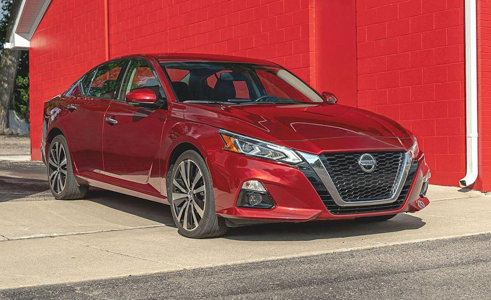 """<p>When Nissan redesigned its midsize sedan for the 2019 model year, the <a href=""""https://www.caranddriver.com/nissan/altima"""" rel=""""nofollow noopener"""" target=""""_blank"""" data-ylk=""""slk:Altima"""" class=""""link rapid-noclick-resp"""">Altima</a> grew up. Sleeker headlights, 19-inch wheels, and a tech package aimed at making the <a href=""""https://www.dangerousroads.org/asia/india/111-zoji-la-pass-india.html"""" rel=""""nofollow noopener"""" target=""""_blank"""" data-ylk=""""slk:Zoji La Pass"""" class=""""link rapid-noclick-resp"""">Zoji La Pass</a> feel as safe as driving through <a href=""""https://en.wikipedia.org/wiki/Ohio"""" rel=""""nofollow noopener"""" target=""""_blank"""" data-ylk=""""slk:Ohio"""" class=""""link rapid-noclick-resp"""">Ohio</a>. People renting cars from Hertz will be comforted knowing the <a href=""""https://www.iihs.org/ratings/vehicle/nissan/altima-4-door-sedan/2021"""" rel=""""nofollow noopener"""" target=""""_blank"""" data-ylk=""""slk:IIHS-confirmed testing"""" class=""""link rapid-noclick-resp"""">IIHS-confirmed testing</a> on base S models for crash tests. The only area the Altima didn't receive top marks was for headlight output. Base Altimas still use the old halogen projectors for headlights, and even on other trims with LED projectors for low- and high-beam headlights, it scored an Acceptable rating for inadequate visibility on curves. Every Altima comes with high-beam assist, automatic emergency braking with pedestrian detection, and forward-collision warning. Every model above the base S trim gets rear cross-traffic alert, blind-spot warning, and rear automatic braking standard. There's also Nissan's semi-autonomous drive mode, <a href=""""https://www.caranddriver.com/news/a15340240/econo-autonomy-nissans-propilot-brings-self-driving-features-to-the-budget-conscious/"""" rel=""""nofollow noopener"""" target=""""_blank"""" data-ylk=""""slk:ProPilot Assist"""" class=""""link rapid-noclick-resp"""">ProPilot Assist</a> for top SL and Platinum trims. </p><p><a class=""""link rapid-noclick-resp"""" href=""""https://www.caranddriver.com/reviews/a27021737/2019-nissan-altima-r"""