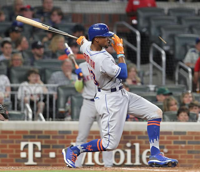 Keon Broxton has struggled mightily since being acquired by the Mets this offseason. (AP Photo/Tami Chappell)