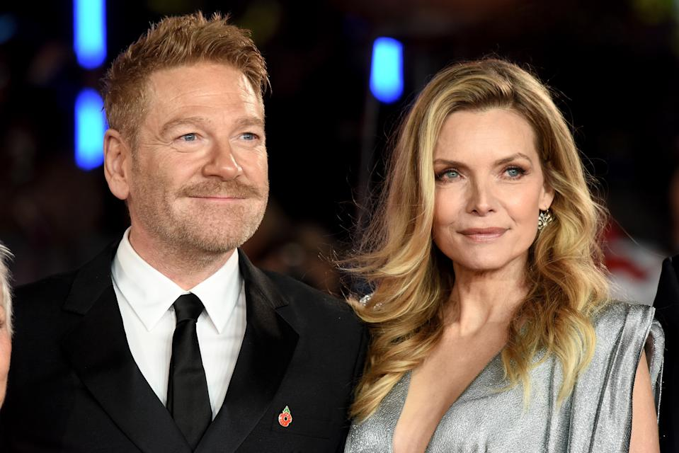 LONDON, ENGLAND - NOVEMBER 02: Kenneth Branagh (L) and Michelle Pfeiffer attend the 'Murder On The Orient Express' World Premiere at Royal Albert Hall on November 2, 2017 in London, England. (Photo by Dave J Hogan/Dave J Hogan/Getty Images)