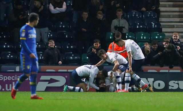 "Soccer Football - Championship - Preston North End vs Leeds United - Deepdale, Preston, Britain - April 10, 2018 Preston North End's Alan Browne celebrates with teammates after he scores his sides third goal Action Images/Craig Brough EDITORIAL USE ONLY. No use with unauthorized audio, video, data, fixture lists, club/league logos or ""live"" services. Online in-match use limited to 75 images, no video emulation. No use in betting, games or single club/league/player publications. Please contact your account representative for further details."
