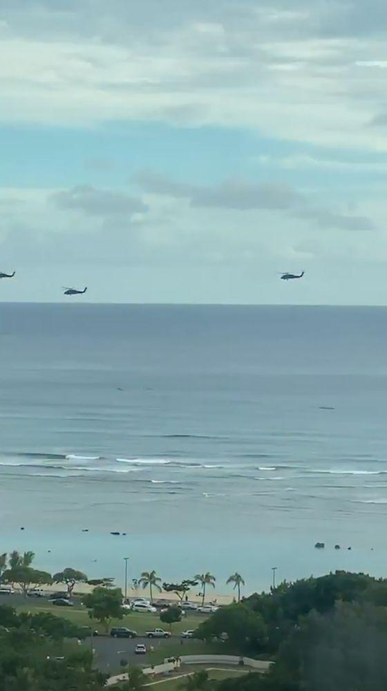 Military helicopters flying over the ocean | Jenna Jameson/Instagram