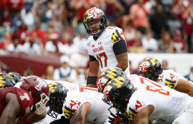 Maryland quarterback Josh Jackson (17) looks down the line of scrimmage during the first half of an NCAA college football against Temple, Saturday, Sept. 14, 2019, in Philadelphia. (AP Photo/Chris Szagola)