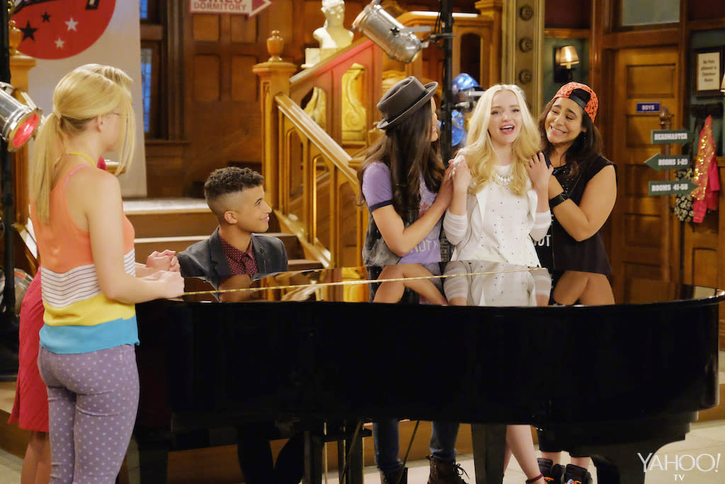 <p>It looks like Liv is singing, which we hope means her vocal surgery was a success. Pictured: Jordan Fisher, Victoria Moroles, Dove Cameron, and Jessica Marie Garcia (Credit: Tony Rivetti/Disney Channel) <br /><br /></p>