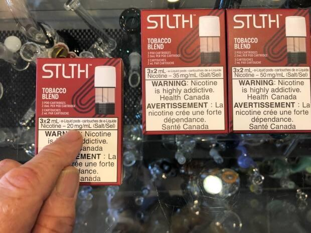 The sale of vaping products with a nicotine concentration higher than 20 mg/ml will be banned as of July 23. Health Canada has brought in the new regulations across the country.  (Brian Higgins/CBC - image credit)