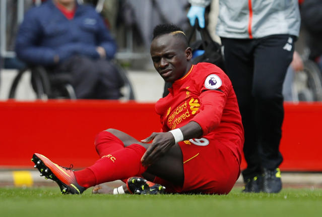 """<p>Britain Soccer Football – Liverpool v Everton – Premier League – Anfield – 1/4/17 Liverpool's Sadio Mane after sustaining an injury Reuters / Phil Noble Livepic EDITORIAL USE ONLY. No use with unauthorized audio, video, data, fixture lists, club/league logos or """"live"""" services. Online in-match use limited to 45 images, no video emulation. No use in betting, games or single club/league/player publications. Please contact your account representative for further details. </p>"""