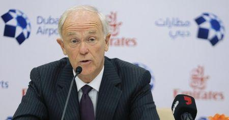 President of Emirates Airlines Tim Clark speaks during a news conference at the Emirates Terminal at Dubai International Airport