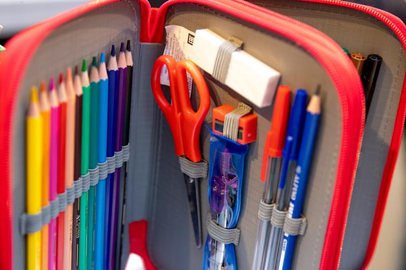 MOSCOW, RUSSIA - AUGUST 23, 2018: School supplies at a back-to-school fair at the GUM shopping arcade in central Moscow. Sergei Bobylev/TASS (Photo by Sergei Bobylev\TASS via Getty Images)