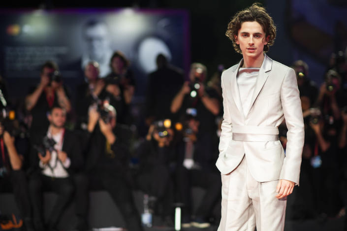 """FILE - Actor Timothee Chalamet arrives at the premiere of the film """"The King"""" at the 76th edition of the Venice Film Festival, Venice, Italy, Sept. 2, 2019. Chalamet turns 25 on Dec. 27. (Photo by Arthur Mola/Invision/AP, File)"""