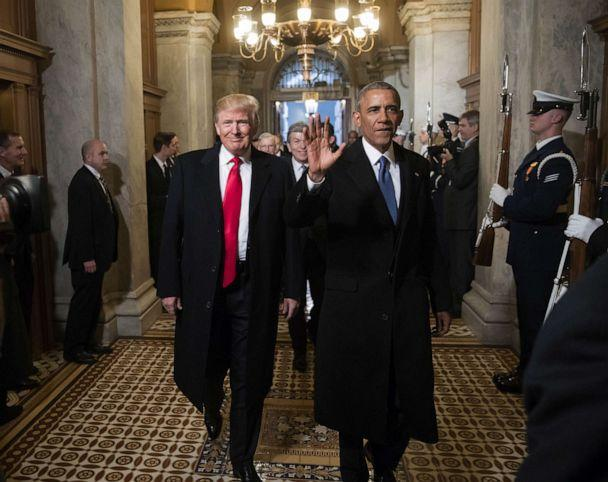 PHOTO: President-elect Donald Trump and former President Barack Obama arrive for Trump's inauguration ceremony at the Capitol, Jan, 20, 2017. (J. Scott Applewhite/Pool/Getty Images)