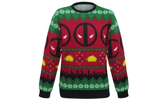 "<p>Tacos aren't a traditional holiday dish, but then Deadpool isn't your traditional kinda guy. Together, they make a spicy ugly Christmas sweater. <strong><a href=""https://www.superherostuff.com/deadpool/sweaters/deadpool-tacos-ugly-mens-christmas-sweater.html?itemcd=swtrdptacosugly"" rel=""nofollow noopener"" target=""_blank"" data-ylk=""slk:Buy here"" class=""link rapid-noclick-resp"">Buy here</a></strong> </p>"