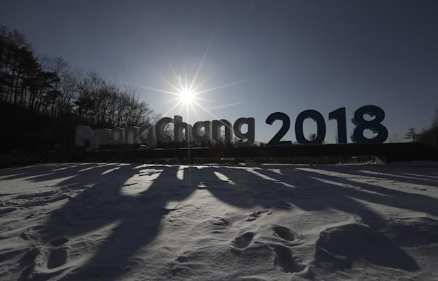 <p>In this Friday, Feb. 3, 2017 photo, a sign of the 2018 PyeongChang Olympic Winter Games is seen in Pyeongchang, South Korea. One year before the Olympics, the country is in political disarray, and winter sports are the last thing on many people's minds. To say that South Koreans are distracted from what had been billed as a crowning sports achievement is an understatement. (AP Photo/Lee Jin-man) </p>