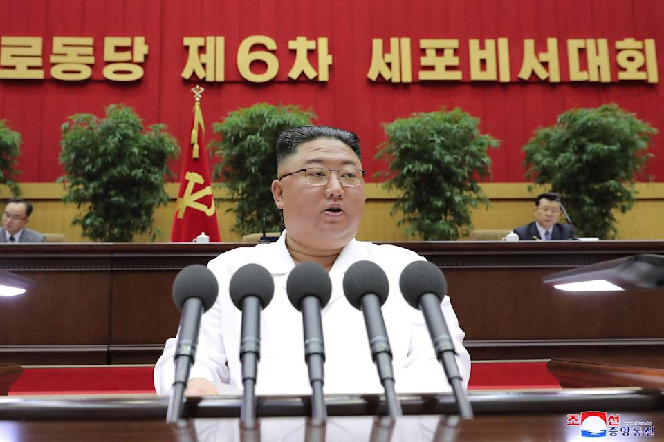<p>Kim Jong-un delivering a closing address at the Sixth Conference of Cell Secretaries of the Workers' Party of Korea in Pyongyang</p> (Getty Images)