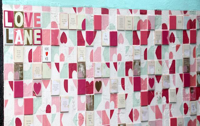 A tiled wall of messages as part of Dublin's Love the Lanes campaign. (Getty Images)