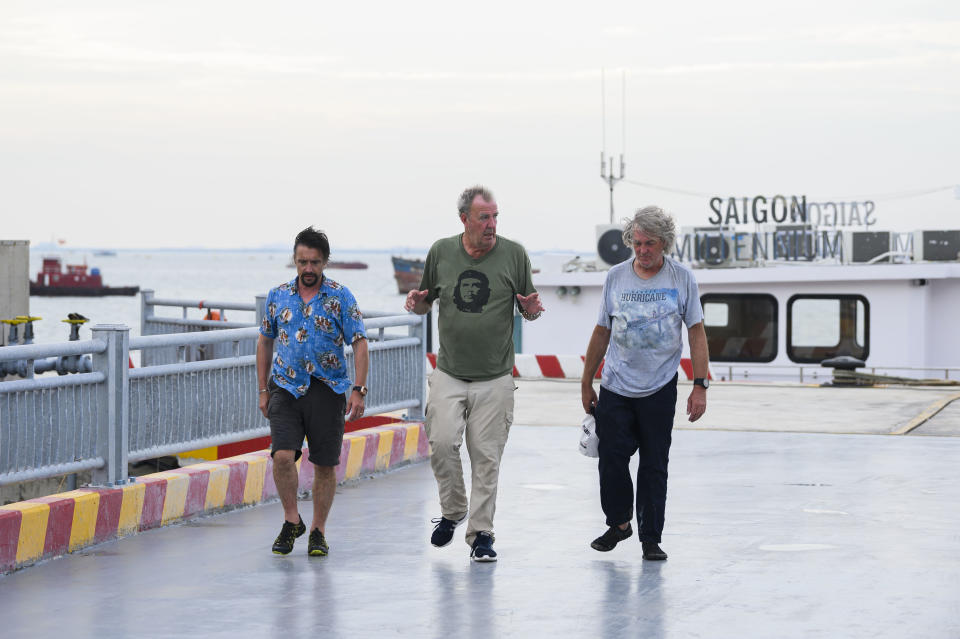 Jeremy Clarkson, Richard Hammond and James May on The Grand Tour Presents: Seamen (Amazon Prime Video/PA)