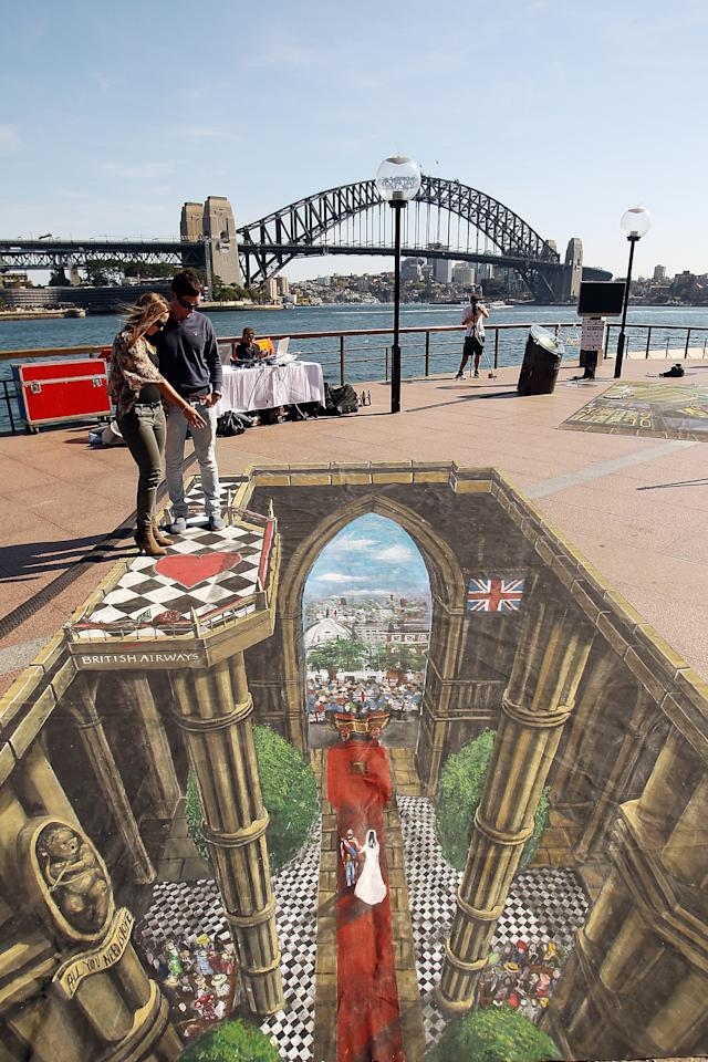 A 3D interactive art featuring the Royal Wedding is seen on display as part of the VisitBritain tourism campaign at Circular Quay on September 6, 2011 in Sydney, Australia.  (Photo by Mark Metcalfe/Getty Images)
