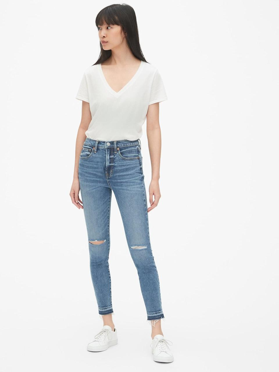 <p>We love the <span>Gap High Rise True Skinny Ankle Jeans With Distressed Detail</span> ($80).</p>
