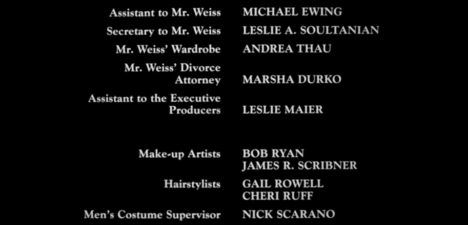 still of end credits from Naked Gun film