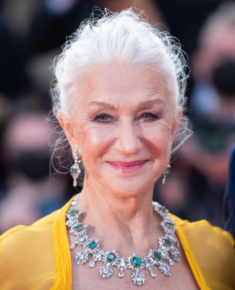 <p>Mirren looked every inch the queen in an elaborate, yet still elegant, parure of white diamonds and emeralds. </p>
