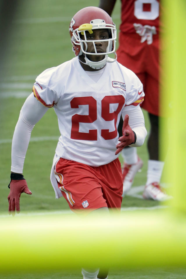 Kansas City Chiefs strong safety Eric Berry (29) participates in a drill at NFL football training camp Wednesday, July 29, 2015, in St. Joseph, Mo. (AP Photo/Charlie Riedel)
