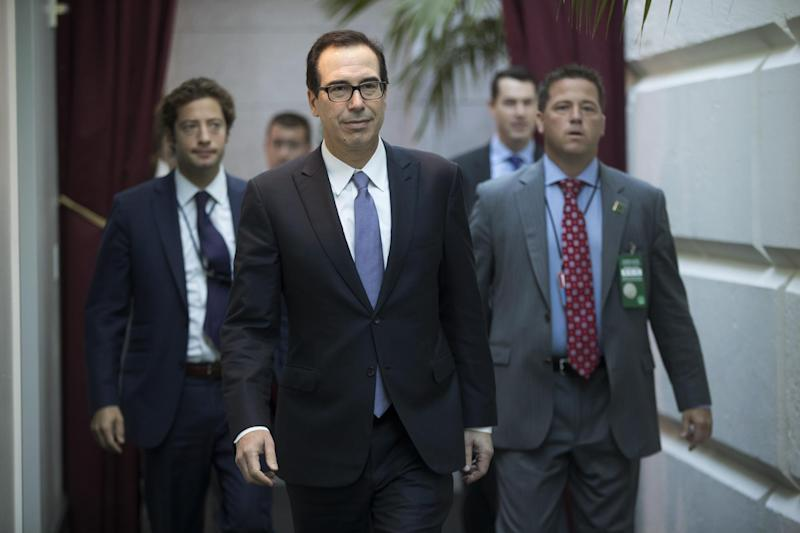 Treasury Secretary Steven Mnuchin arrives for a closed-door meeting with Speaker of the House Paul Ryan and House Republicans on September 8, 2017: AP