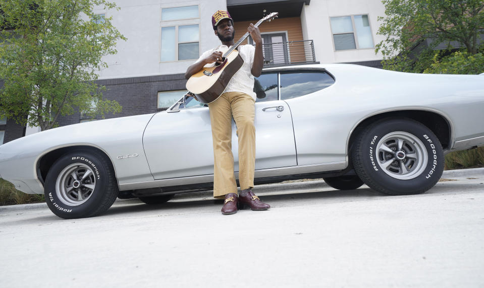 """Grammy-winning artist Leon Bridges discusses his musical and personal evolution as he releases his third studio album, the R&B-forward """"Gold-Diggers Sound."""" in Fort Worth, Texas, Wednesday, July 21, 2021. (AP Photo/LM Otero)"""