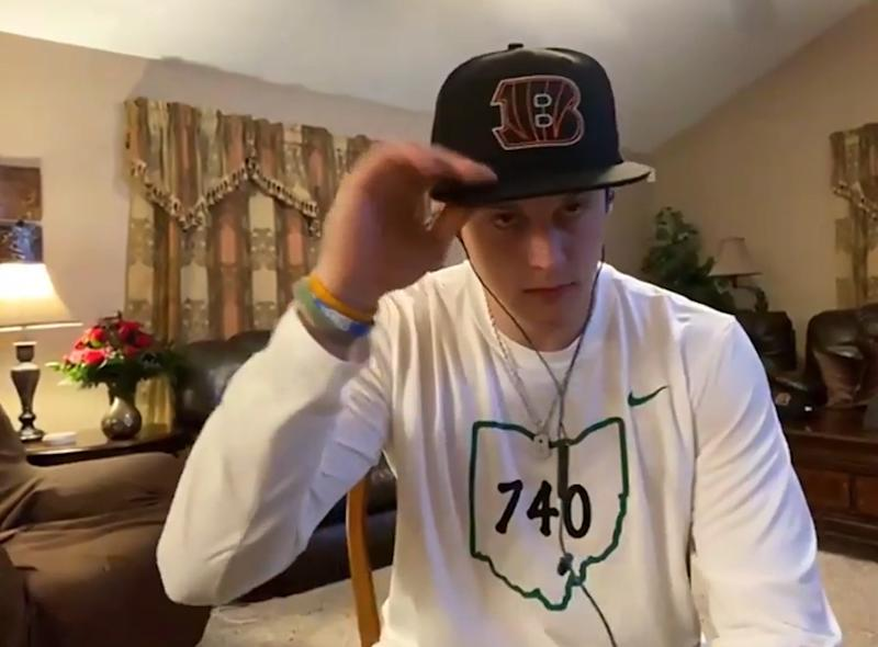 UNSPECIFIED LOCATION - APRIL 23: (EDITORIAL USE ONLY) In this still image from video provided by the Cincinnati Bengals, quarterback Joe Burrow speaks via teleconference after being selected during the first round of the 2020 NFL Draft on April 23, 2020. (Photo by Getty Images/Getty Images)