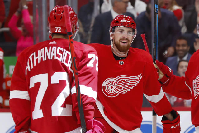 Detroit Red Wings defenseman Filip Hronek celebrates his goal with Andreas Athanasiou (72) in the second period of an NHL hockey game, Tuesday, Oct. 8, 2019, in Detroit. (AP Photo/Paul Sancya)