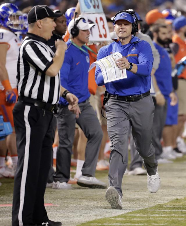 Boise State coach Bryan Harsin could be in line for a bigger and better job if he rights the ship at Boise State. (Getty)