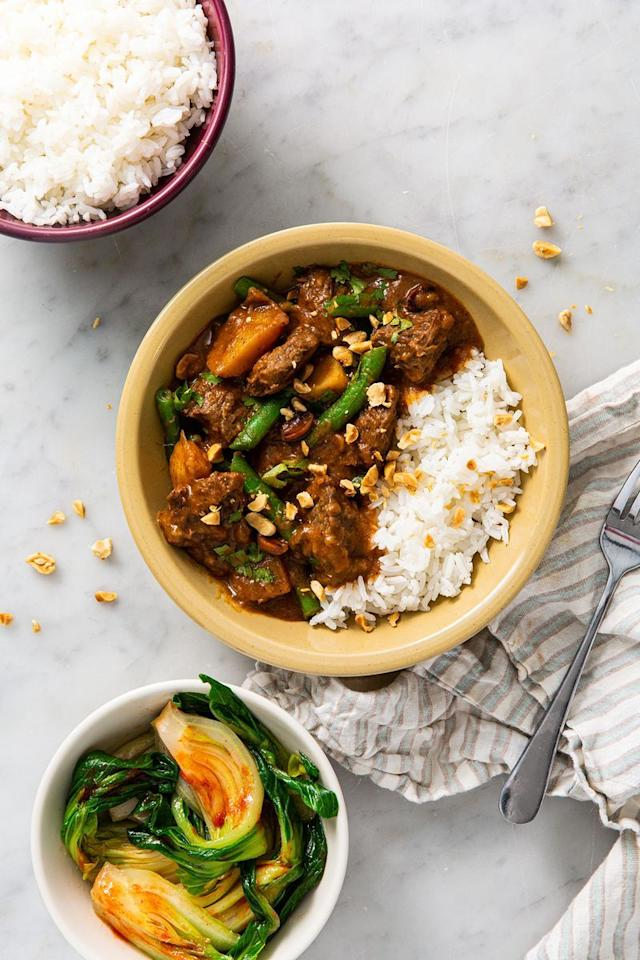 "<p>Beef Massaman <a href=""https://www.delish.com/uk/curry-recipes/"" target=""_blank"">Curry</a> is the dish of dreams, and one of our favourite <a href=""https://www.delish.com/uk/cooking/recipes/g30761979/thai-food/"" target=""_blank"">Thai</a> recipes. The sauce is rich in flavour and the <a href=""http://www.delish.com/uk/beef-recipes/"" target=""_blank"">beef</a> falls apart beautifully. The main ingredients of a Massaman curry include your meat, along with coconut milk, onion, peanuts, potatoes, palm sugar, tamarind sauce and a range of spices.</p><p>Get the <a href=""https://www.delish.com/uk/cooking/recipes/a30621972/beef-massaman-curry/"" target=""_blank"">Beef Massaman Curry</a> recipe.</p>"
