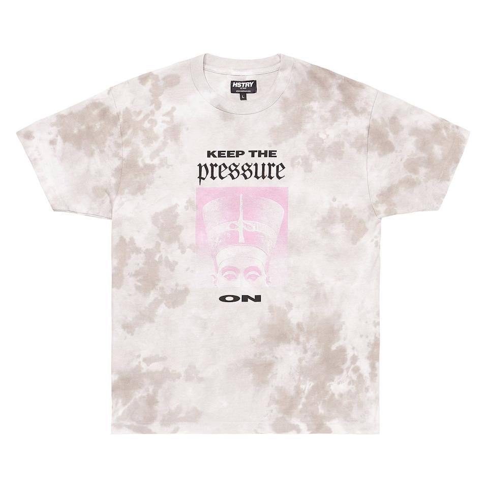 """Get the<a href=""""https://www.hstryclothing.com/collections/new-arrivals/products/black-hstry-pressure-tee"""" target=""""_blank"""" rel=""""noopener noreferrer"""">""""Keep The Pressure On"""" T-shirt from Black Hstry for $49</a>"""