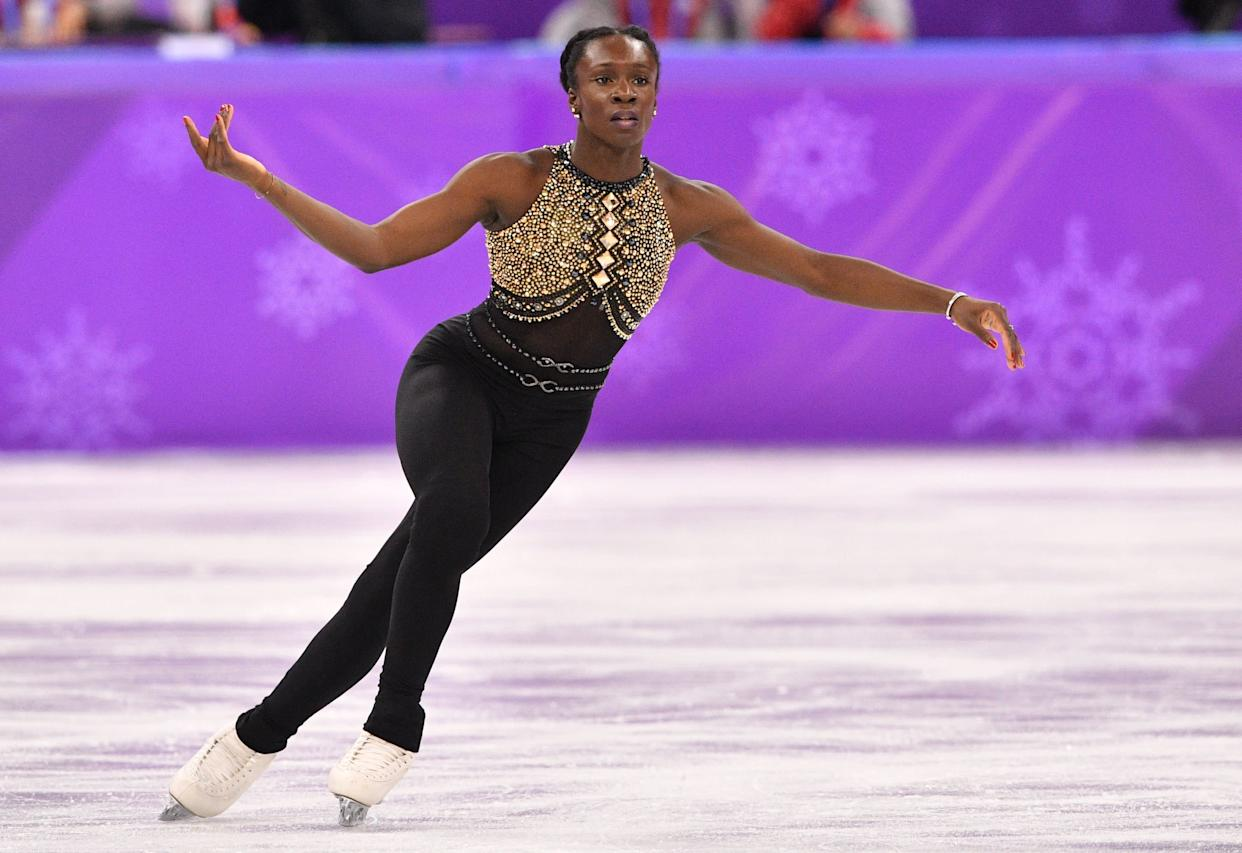 """France's Meite wore this unitard&nbsp;to perform her short program (in both the team and&nbsp;women's single events) to a medley of&nbsp;Beyonc&eacute; songs.&nbsp;The statement-making ensemble had to be our favorite of the games (though Meite almost outdid herself with <a href=""""http://time.com/5172048/french-figure-skater-mae-berenice-maite-costume-change-olympics/"""" rel=""""nofollow noopener"""" target=""""_blank"""" data-ylk=""""slk:these bedazzled hot shorts"""" class=""""link rapid-noclick-resp"""">these bedazzled hot shorts</a>).&nbsp;Queen Bey would definitely approve.&nbsp;"""