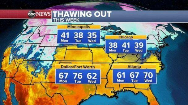 PHOTO: Once this storm system moves through, it is expected to be spring-like from the Rockies to the East Coast with the central and southern states getting into the spring weather first. (ABC News)
