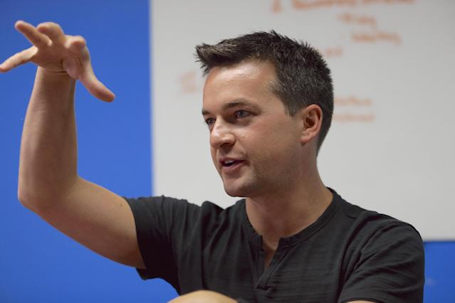 In this photo from Aug. 14, 2014, John Wirtz, Chief Product Officer of Hudl speaks in Lincoln, Neb. Hudl is a software company that has developed a way to immediately get game film to coaches after games and break down and separate different plays by type. (AP Photo/Nati Harnik)