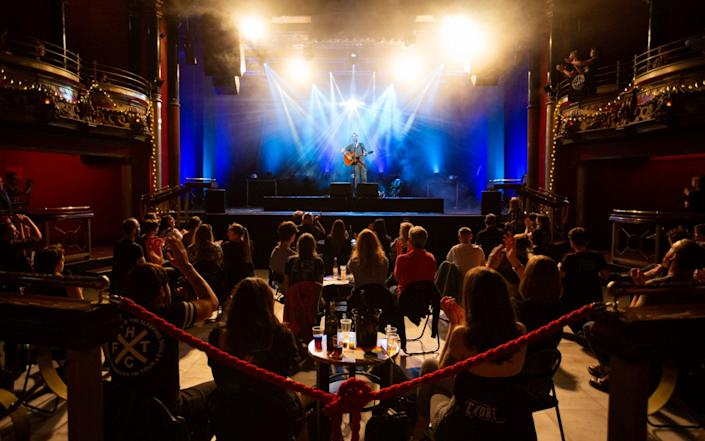 Keep your distance: gig-goers at the Clapham Grand enjoy Frank Turner's set at some range - Corinne Cumming