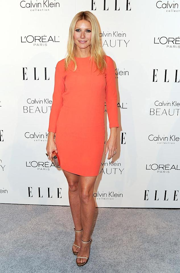 "Also in attendance at the <i>Elle</i> event ... budding country crooner Gwyneth Paltrow, who rocked a simple CK frock in a surprisingly hot hue. Alberto E. Rodriguez/<a href=""http://www.gettyimages.com/"" target=""new"">GettyImages.com</a> - October 18, 2010"