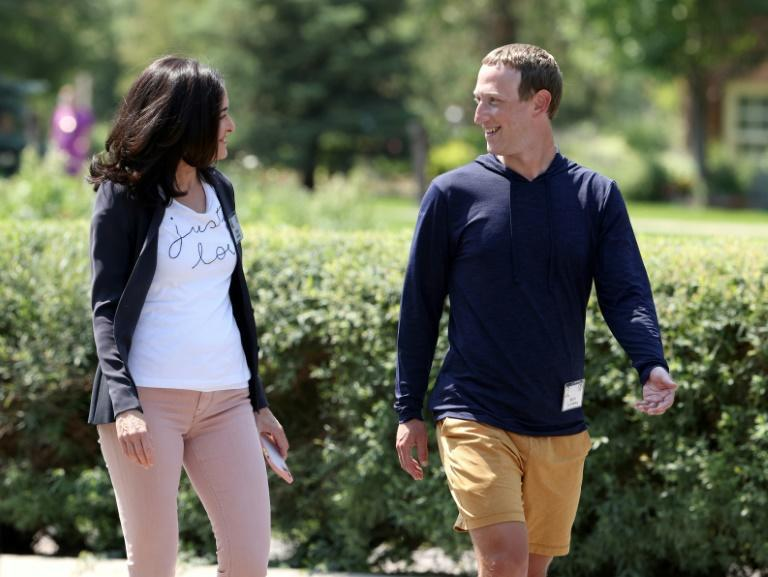 Facebook CEO Mark Zuckerberg walks with COO Sheryl Sandberg after a session at the Allen & Company Sun Valley Conference on July 08, 2021 in Sun Valley, Idaho
