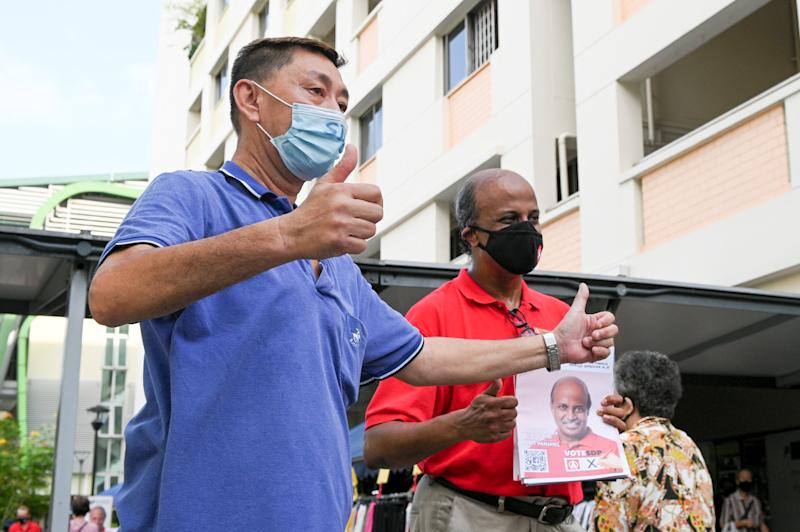Singapore Democratic Party chairman Paul Tambyah seen during a party walkabout in the Bangkit area of the Bukit Panjang single-member constituency on Saturday (4 July). (PHOTO: Joseph Nair for Yahoo News Singapore)